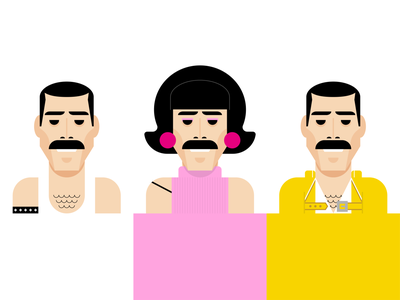 Freddie Mercury geometric vector illustration vector art pink yellow idol music moustache queen freddie mercury branding identity sticker negative space logomark line art vector illustration icon logo