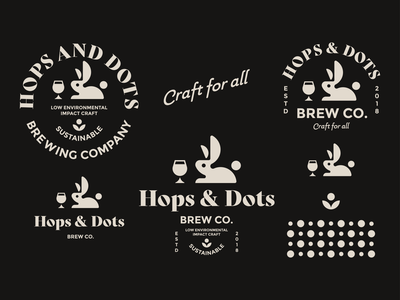 Hops and Dots Brewery Logo - Design Toolkit logo icon mark geometric branding type identity logomark sticker logotype illustration rabbit bunny brewery craft ale craft beer beer art hops ale