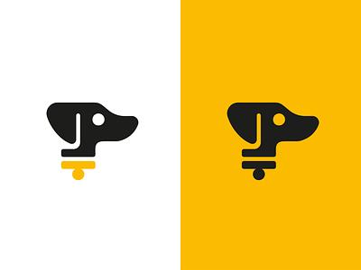 The Hound - Dachshund Logo audio puppy pup yellow black dachshund dog geometric vector illustration sticker logomark identity branding negative space mark icon logo