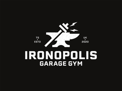 Ironopolis Home Gym Logo covid lockdown dumbbell hammer anvil gym sticker identity illustration logotype logomark line art type branding negative space mark icon logo