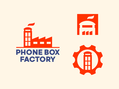 Phone Box Factory Logo Design chimney factory london creative art blue red phone box telephone phone logotype logomark identity symbol type branding negative space mark icon logo
