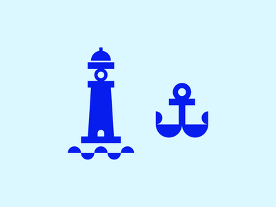 Lighthouse & Anchor sea waves ocean blue nautical anchor lighthouse circle geometric sticker symbol line logomark line art vector branding negative space mark icon logo