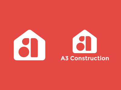 A3 Construction Logo geomtric red property building construction home letter a house logotype logomark identity symbol line art type branding negative space mark icon logo