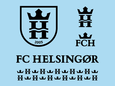 FC Helsingor - Brand Toolkit sport river waves blue shield crown denmark crest football soccer logotype logomark identity symbol type branding negative space mark icon logo