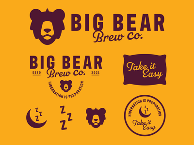 Big Bear Brewery - Brand Toolkit brand pillow beer label sleep ale craft craft beer beer brewery bear hops illustration vector type branding negative space mark icon logo