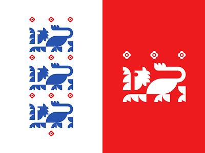 Three Lions - England Logo cat euro 2020 soccer football red blue shield crest geometric lion england illustration vector branding negative space mark icon logo