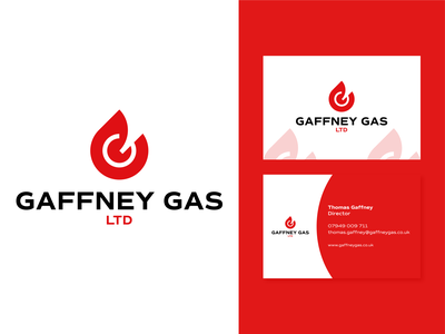 Gaffney Gas Logo Design fire construction monogram logotype vector independent business identity red flame gas type branding negative space mark icon logo