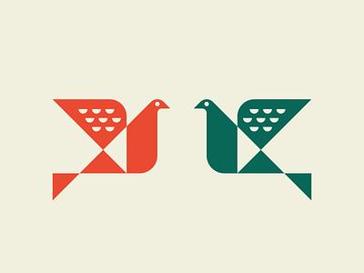 Birds - Geometric Logo logos green orange peace dove animal identity logotype branding illustration modern logo mascot birds geometric bird vector negative space mark icon logo