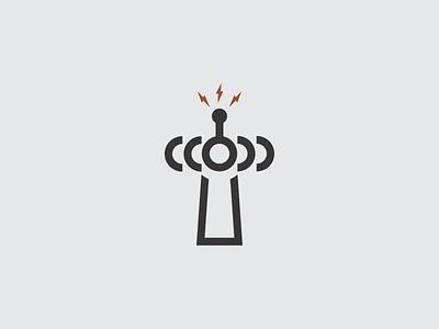 Transmission Radio - T Mark t logo type branding negative space bolt mark symbol icon vector radio