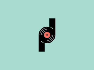 P.D Records p logo type branding negative space record mark symbol icon vector line