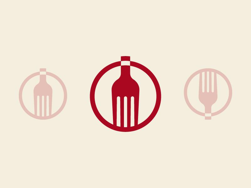 Wine & Dine restaurant fork wine logo type branding negative space mark symbol icon vector