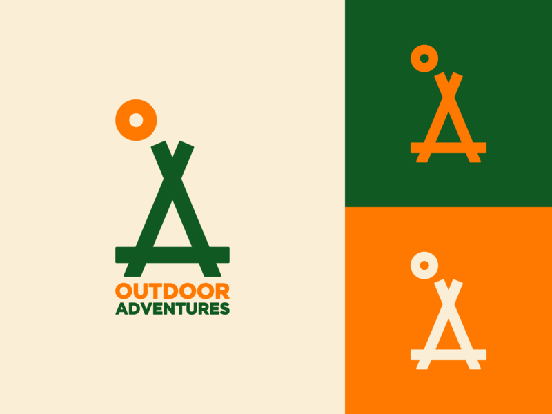 Outdoor Adventures hiking camping tent sun orange logo icon mark vector type negative space symbol branding seo q eco outdoor line identity green