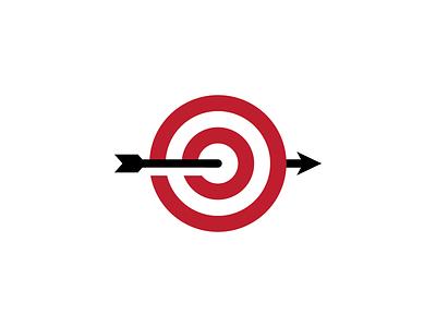 Aim Arrow red sport football soccer aim bullseye target dart arrow illustration sticker branding symbol negative space vector mark icon logo
