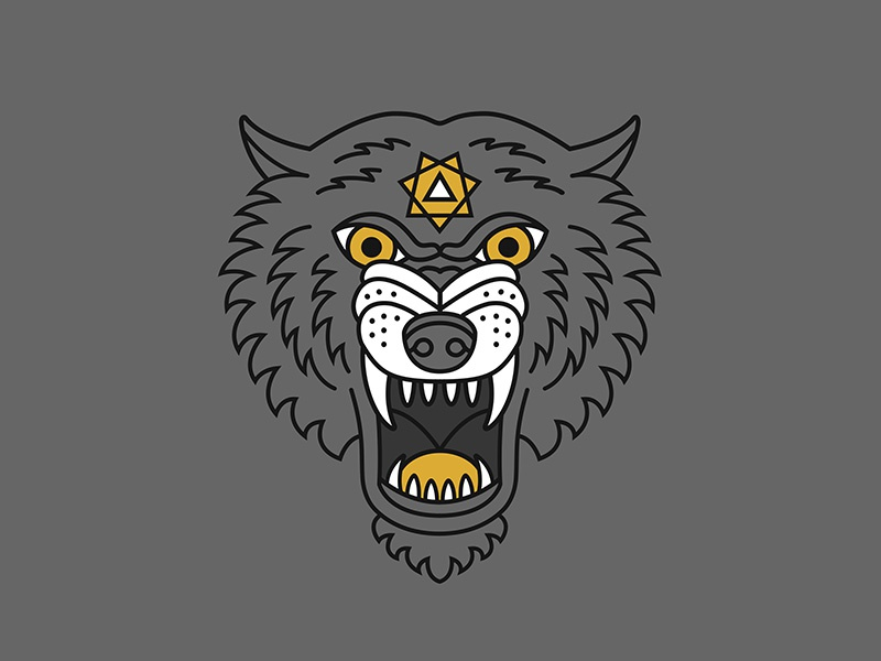 Grey Wolf pure cycles pure fix fixed gear fixie bicycles bikes wolf line art logo