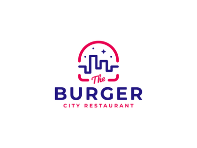 The Burger minimalistic logo star streetfood town logo city burger