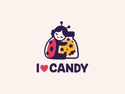 I love candy logotype character mascot cute logo candy sweets ladybug