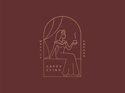 Cappuccino line wakeup princess beauty coffee girl logo