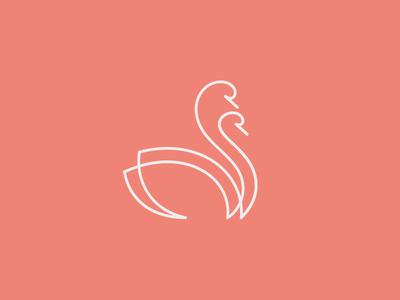 Just married minimalistic wedding linear line newlyweds couple swan