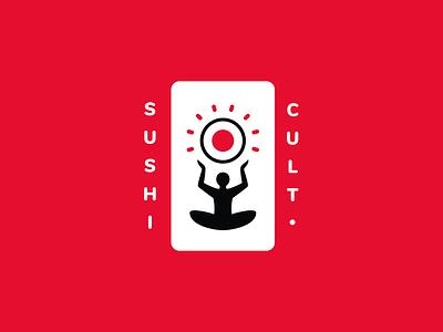Sushi Cult red black idol man roll sun cult logo sushi