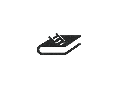 Deep reading logotype logo go down thinking reading ladder stairs book