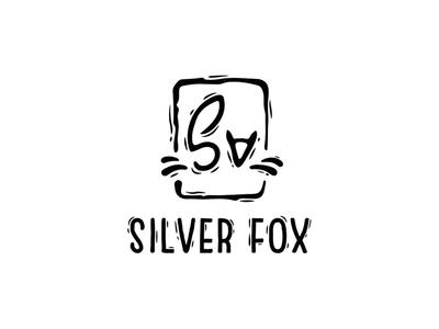 Silver fox handdrawn silver black cosmetic logotype logo fox