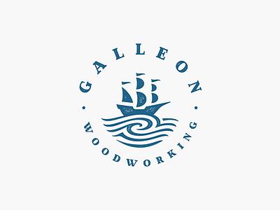 Galleon ocean sea vintage wave emblem wood woodworking galleon ship logo