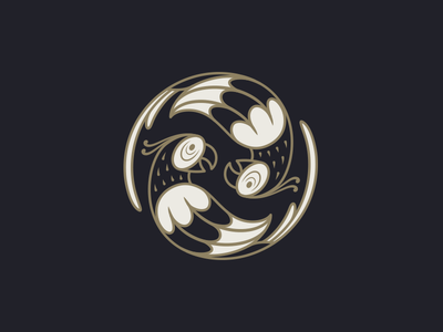 Circulation mark gold concept circulation rotation parrot bird logotype logo