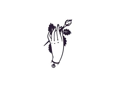 Grace Makeup logotype black logo makeup brush woman retro vintage shell flower hand