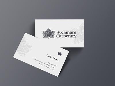 Sycamore Carpentry stationary business card invoice van craft fingerprint thumbprint wood leaf sycamore tradesman builder carptenter carpentry