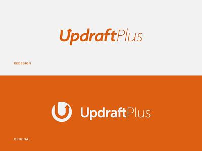 UpdraftPlus Logo Redesign typography logo security backup website development rebrand redesign orange wordpress plugin updraftplus