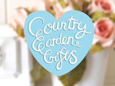 'Country Garden Gifts' Log Design logo etsy branding country garden gifts shop girly lettering type calligraphy