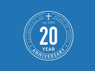 20 Year Anniversary newport chrsitchurch church anniversary stamp design logo