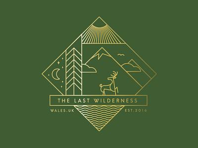 The Last Wilderness wilderness wild water sun river night mountain moon logo design day badge