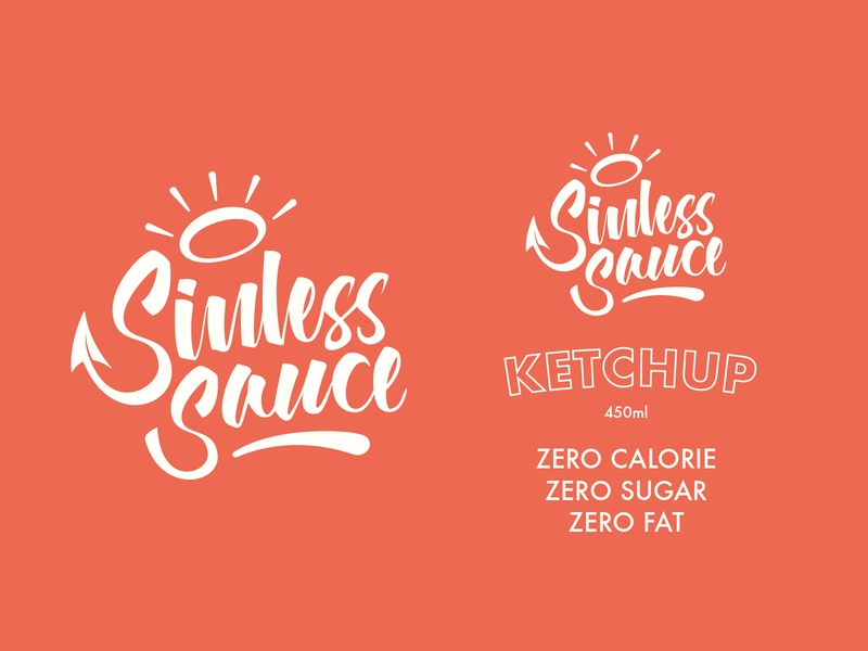 Sinless Sauce *concept 2* halo ketchup typography branding illustration lettering label design sauce