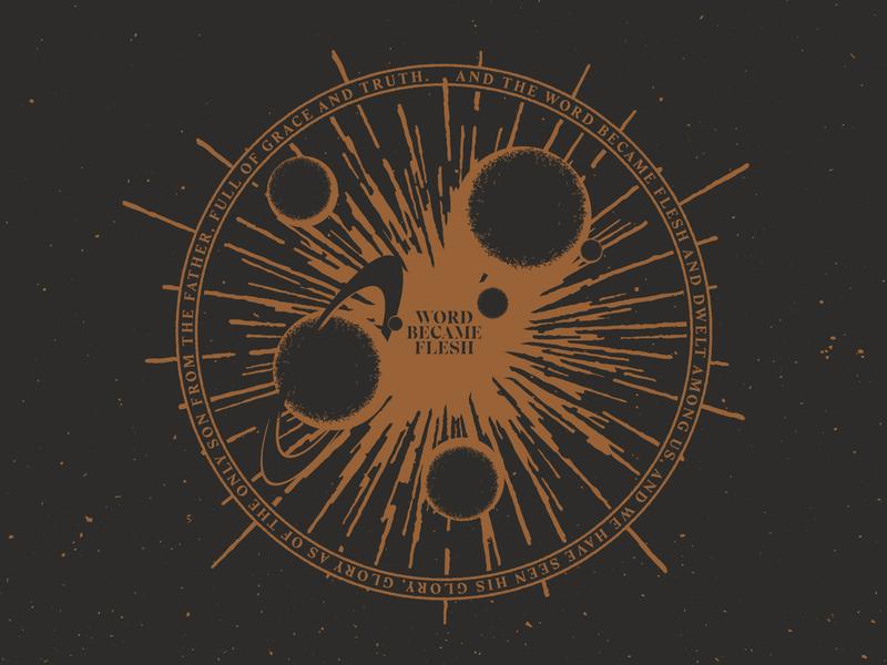 WORD BECAME FLESH jesus bible verse explosion stars sundial planets moon saturn bible creator creation space coaster design sticker mule