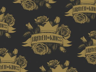 Written In Kings Logo Design album cover lettering rose crown pattern black and gold banner stippling illustraion band logo band