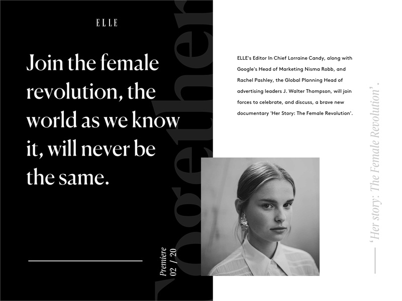 """""""Female force"""" documentary editorial concept design for ELLE."""