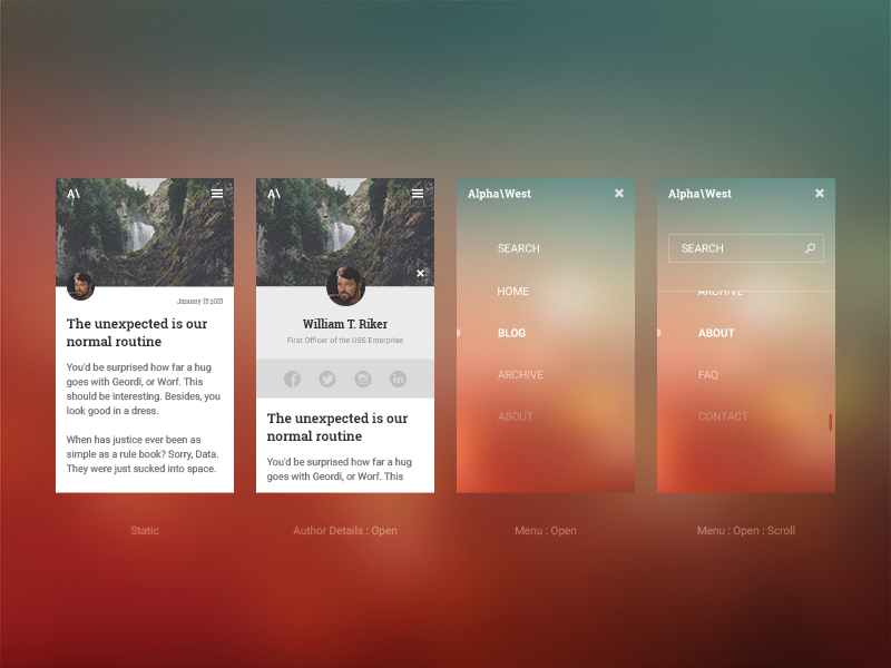 Mobile blog layout visual design by dustin hoffmann for App layout design online