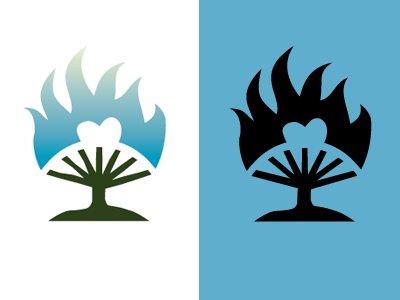 Burning Bush Logo symbol bush fire heart ministry
