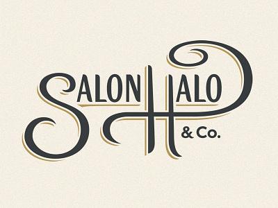 Salon Halo Logo type lettering color script curve subtle logotype