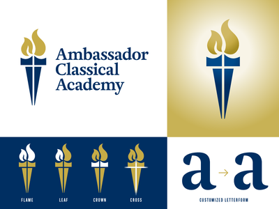 Ambassador Classical Academy Logo icon navy gold classic kingdom crown cross flame christian symbol logo
