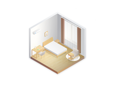 Isometric house——Ziroom room ziroom house isometric