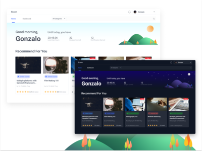 Day and Night theme for E-Learning Platform