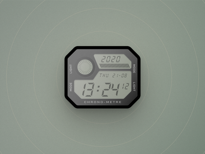 Digital Watch skeumorphism realistic illustration ui design