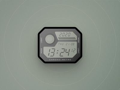 Digital Watch skeumorphism realistic illustration ui design