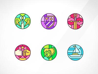 Stained Glass App Badges steve bullock stained glass app design illustraion icon set