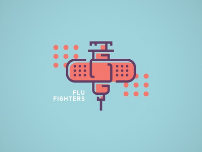 Flu Fighters steve bullock flu syringe bandage icon logo illustration