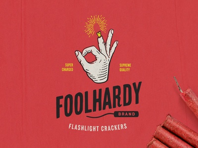 Foolhardy Firecrackers steve bullock identity logo finger hand fireworks hand type illustration