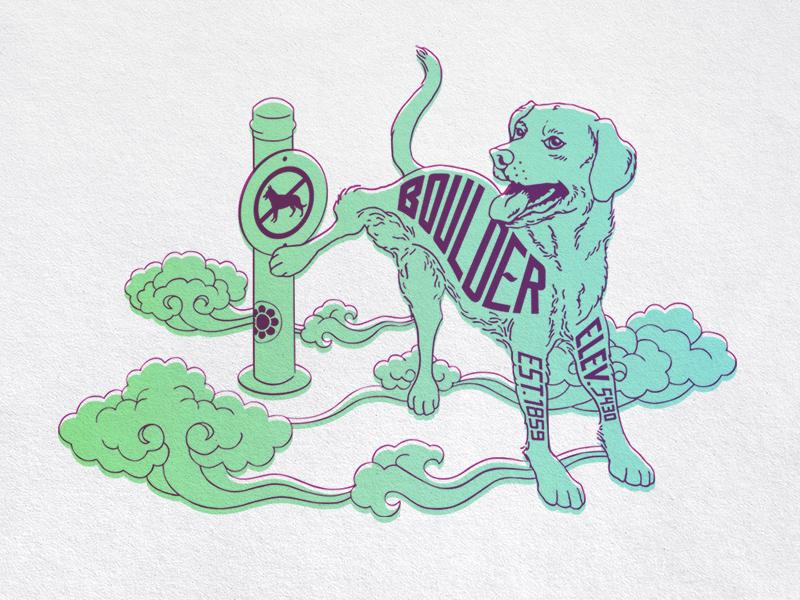 Boulder  steve bullock boulder clouds dog illustration