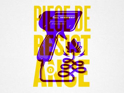 Piece De Resistance steve bullock electric lotus screenprint overprint vector illustration poster